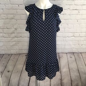 J. Crew Navy and White Ruffle Dress Size XXS